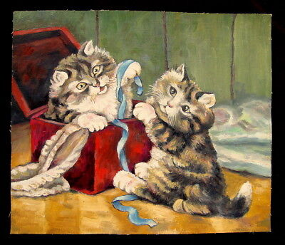 Cat Painting Antique, Playing Cats, Russian Original Oil, Funny Kitty, Rare