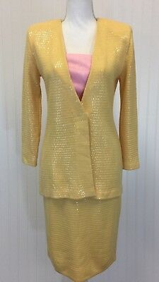 St John Marie Gray 2 Piece Outfit Size 4 Yellow Skirt Jacket Set Sequins