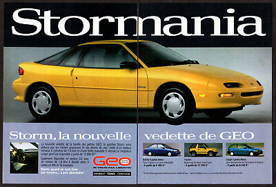 1992 GEO Storm Vintage Original 2 page Print AD - Yellow Sport car French Canada