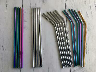 Eco Friendly Stainless Steel Metal Drinking Straw Reusable Silver Iridescent