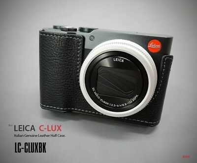 LIM'S Genuine Leather Camera Half Case Aluminum Plate For Leica C-LUX Black