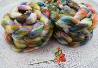 Hand Dyed Silk / Merino Tops Spinning Felting   X 100 Grams