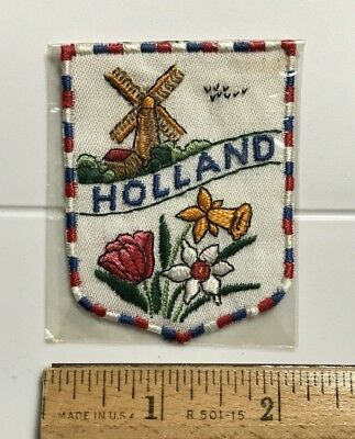 Holland The Netherlands Flowers Dutch Windmill Souvenir Embroidered Patch Badge