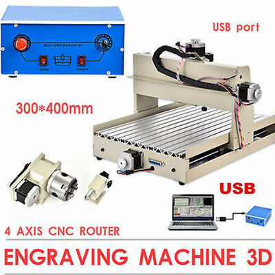 USB CNC ROUTER ENGRAVER T-SCREW ENGRAVING CUTTING 4 AXIS 3040T CUTTER US Stock!!