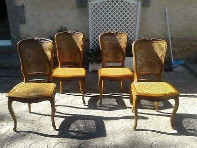 French antique vintage Louis Philippe style cane chairs