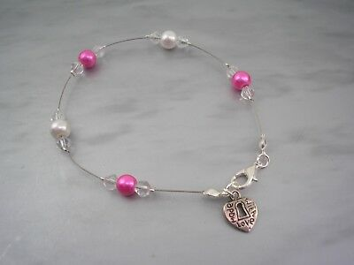11c Bracelet Girls Ladies Ivory & Colour Pearls & Crystal 'Made with Love' Charm
