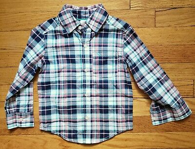 Carters Toddler Boy 2T Plaid Pink Blue Green White Long Sleeve Shirt
