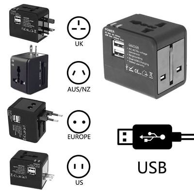 Universal Travel Electrical Adapter Dual 2.1A USB Plug International UK US EU AU