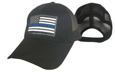 7625870739652 USA American Thin Blue Line Trucker Mesh Black 3D Embroidered Cap Hat