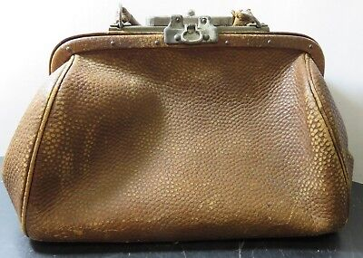 "Antique Locking Brown / Tan Leather Doctor's Bag 10.25"" x 12"" x 5.25"" Very Good"