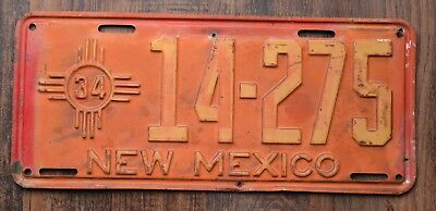 1934 New Mexico License Plate 14 275