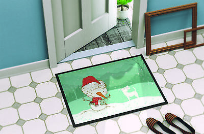 White Chihuahua Snowman Christmas Indoor or Outdoor Mat 18x27