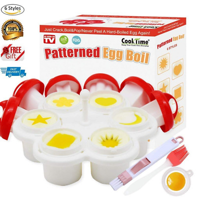 Patterned Egg Cooker&Mold,Hard Boiled Maker Without the Shell,6 Shapes Yolk Mold