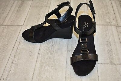 Jessica Simpson Bassena Womens Wedged Sandals Black Us Size 6 M