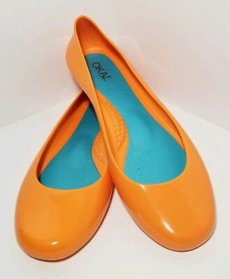 8cfe13782c4c Oka-B Women s New Ballet Flats Size 6 36 Taylor Orange Rubber Jelly Shoes  NWOT