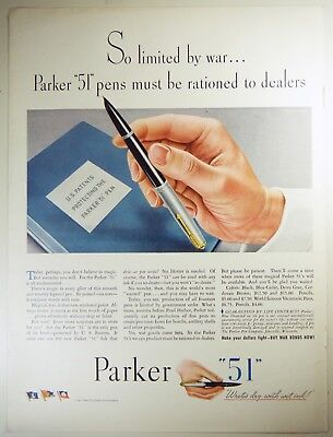 "Vintage 1944 PARKER ""51"" Fountain Pen Full-Pg Magazine Print Ad: WWII RATIONING"