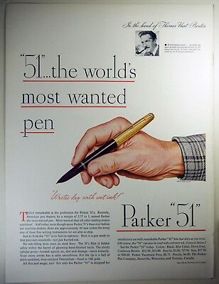 "Vintage 1946 PARKER ""51"" Fountain Pen Full-Pg Magazine Print Ad MOST WANTED PEN"