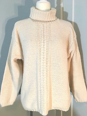 Eddie Bauer Womens Cable Knit Turtleneck Sweater Medium Ivory Chunky