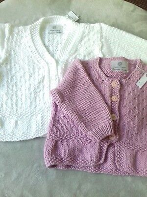 White baby wool Hand knitted Francis-Parkes  baby cardigan Matinee style