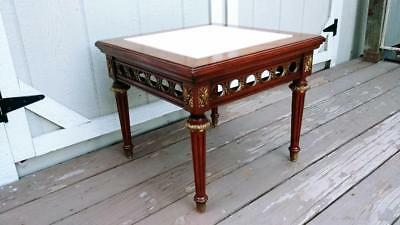 VTG Mahogany Louis XVI French Marble Top Low Profile Table w/ Brass Ormolu #2
