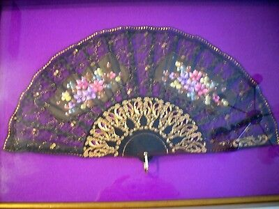 Black Floral Hand Fan In Shadow Box Frame ''Hand Painted''