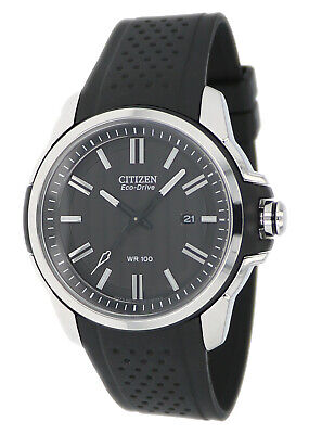 Citizen Eco-Drive Men's Silver-Tone Case Black Poly Band 45mm Watch AW1150-07E
