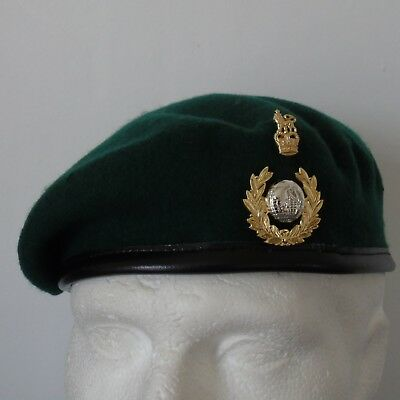 Royal Marine Commando Officers Green Beret & Anodised Two Piece Cap Badge - New