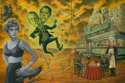 Alfred Hitchcock's Cafe by P'gosh Retro Horror Classic Tattoo Art Print Zombies