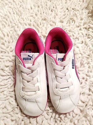 Puma Roma Toddler Baby Girl Shoes Pink   White Sneakers Shoes Athletic Sz 6  GUC ee3520e7c