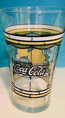 Set of (2) Coca-Cola flared Yellow Rose 6-inch glass tumbler