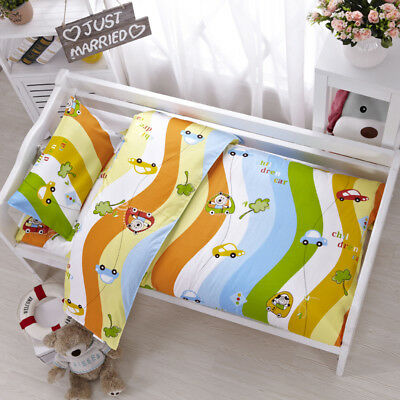 Cartoon Car Wave Baby Boy Bedding Crib Cot Set Quilt Cover Padded Cotton Nursery