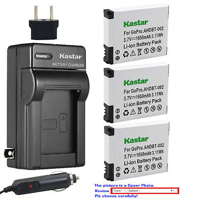 Kastar Battery AC Charger for AHDBT 001 002 & GoPro HD HERO 2 Action Camera
