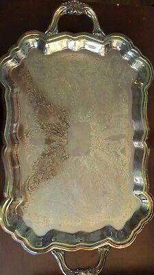 """Vintage LARGE SILVER PLATED FB RODGERS 24"""" SERVING TRAY HEAVY  ORNATE FOOTED"""