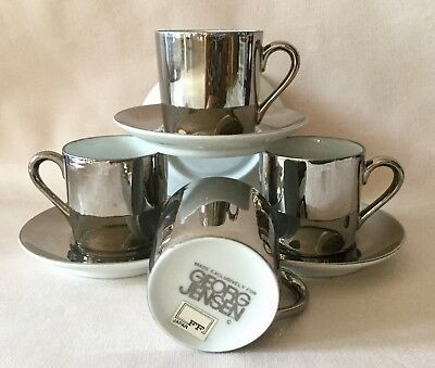 New!  GEORG JENSEN Demitasse Cups & Saucers COMPLETE Set Of 4; FITZ & FLOYD EXCL