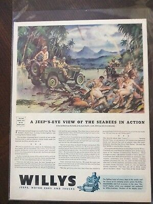 Vintage 1943 magazine ad Willys Jeep Seabees in action WWII amazing