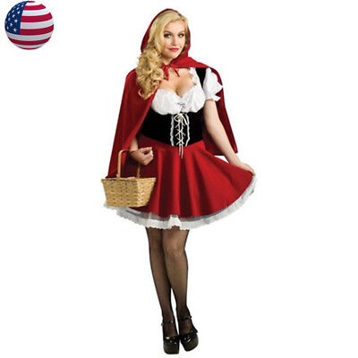 US STOCK Adult Little Red Riding Hood Costume Halloween Christmas Fancy Dress