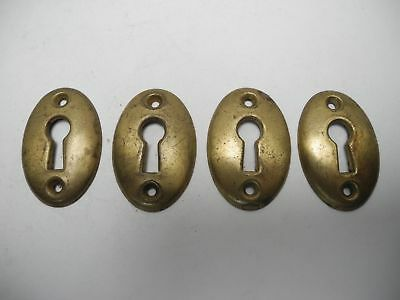 Set of 4 Matching Antique Vintage Solid Brass Oval Keyhole Escutcheon Hardware
