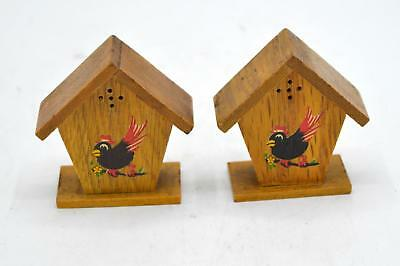 Pair of Vintage Wooden Coo Coo Clock Salt and Pepper Shakers