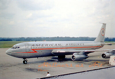 """American Airlines Boeing 707-123B N7522A at CMH in July 1967 8""""x12"""" Color Print"""