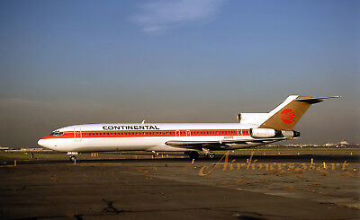 """Continental Airlines Boeing 727-243 N581PE EWR October 1987 8""""x12"""" Color Print"""