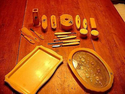 Lot of 25 Pc Antique Victorian Ladies Celluloid Manicure Dresser Items
