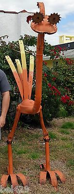 Vintage metal garden art HUGE metal ostrich bird signed