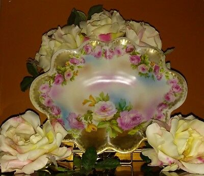 Vintage Hand Painted Roses & Gold Guilded Scalloped Egde Royal Vienna Bowl