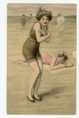 BATHING BEAUTY POSTCARD. Shivering Bathing Beauty. Early Artist Drawn PC