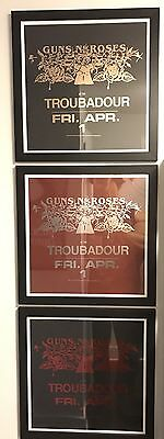 Guns N Roses Troubadour Framed Lithograph Set Slash Axl Appetite Destruction