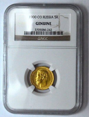 1900 O3 Russia 5R Ngc Genuine 5 Rouble Gold Coin Imperial Nicholas Ii 5 Rubles !