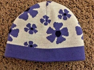 9b2d2958795c94 Girls 7-14 WINTER Sweater Knit SKI HAT Cap REI Purple Flower Posies  REVERSIBLE