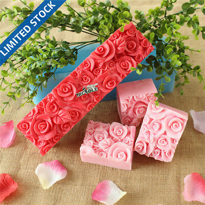 bD0016 Nicole Rose Flower Custom Handmade Silicone Rubber Loaf Soap Molds