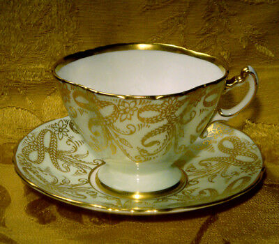 Hammersley Square Cup & Saucer Gold Floral Pale Green 8704 Made In England
