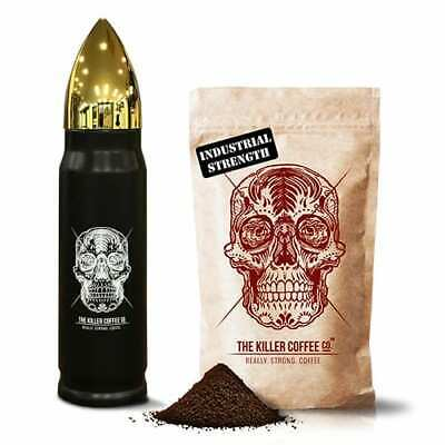 Killer Coffee + Bronze Bullet Flask - Really Strong Coffee Beans or Ground